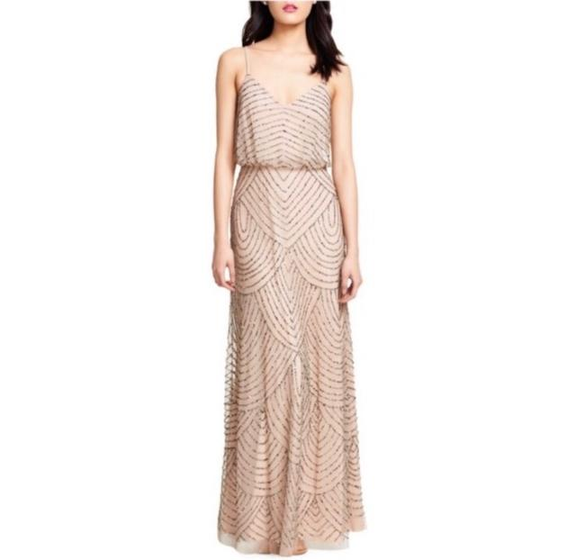 Item - Pink Taupe Art Deco Beaded Blouson Gown Feminine Bridesmaid/Mob Dress Size 6 (S)