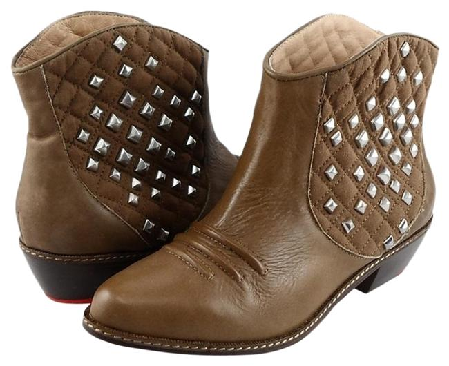Item - Pecan Dana Leather Studded Cowboy Ankle Boots/Booties Size US 10 Regular (M, B)