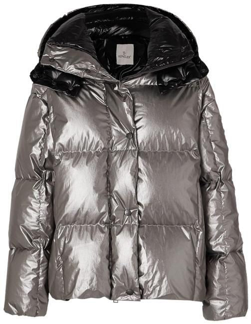 Item - Silver Parana Hooded Quilted Metallic Cotton-shell Down Jacket Coat Size 4 (S)