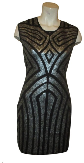 Item - Black Silver Art Deco Sleeveless Stretch Sequined Short Night Out Dress Size 8 (M)