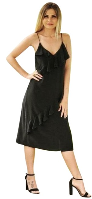 Item - Black Women's Ruffled Mid-length Cocktail Dress Size 12 (L)
