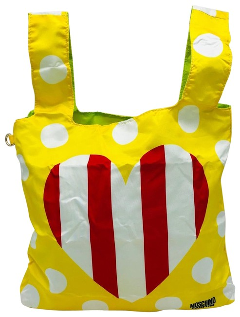 Item - Bag Cute Heart Handbag with Pouch Yellow Nylon Tote