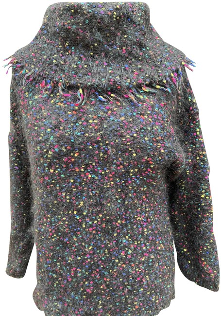Item - Slouchy Neck Mohair Black Multi Color Sweater