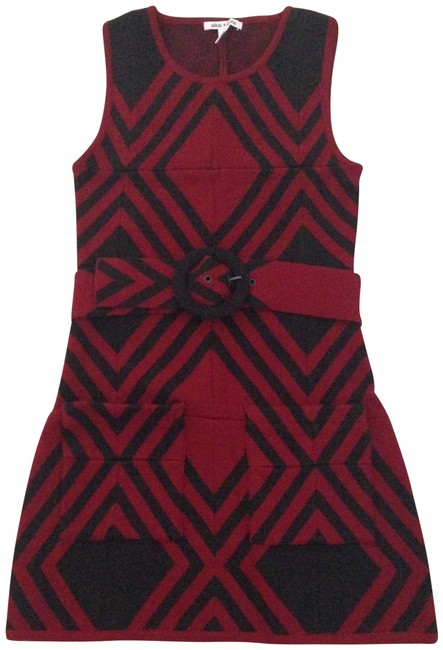 Item - Dark Brown/ Red Wool with Removable Belt Short Casual Dress Size 0 (XS)