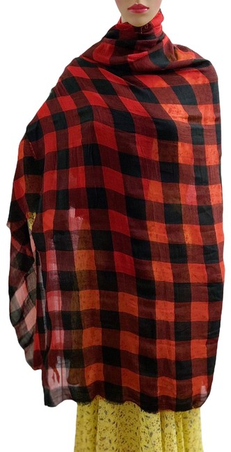 Item - Red and Black Oversized Plaid Scarf/Wrap Scarf/Wrap