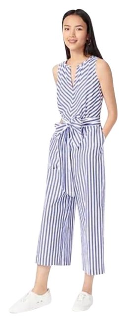 Item - Blue Striped Poplin V-neck Romper/Jumpsuit