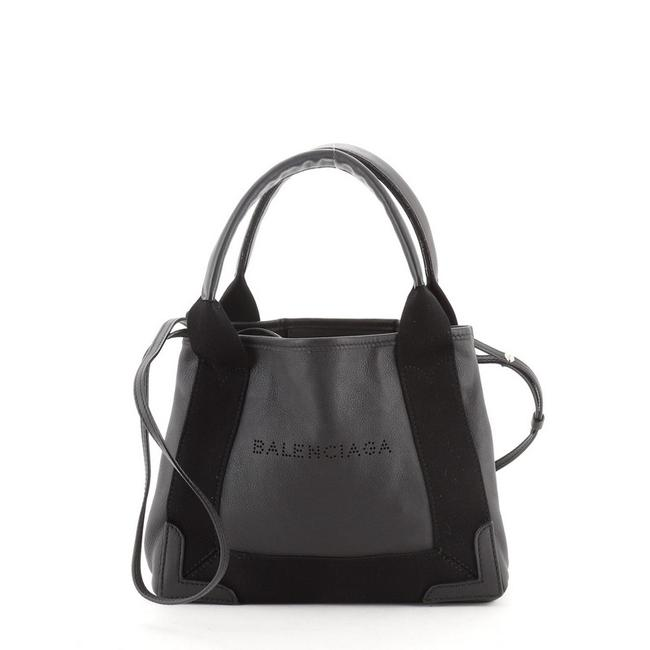 Item - Cabas XS Navy Black Leather Tote