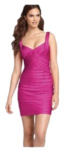 BCBGMAXAZRIA Pleated Satin Sheath Dress