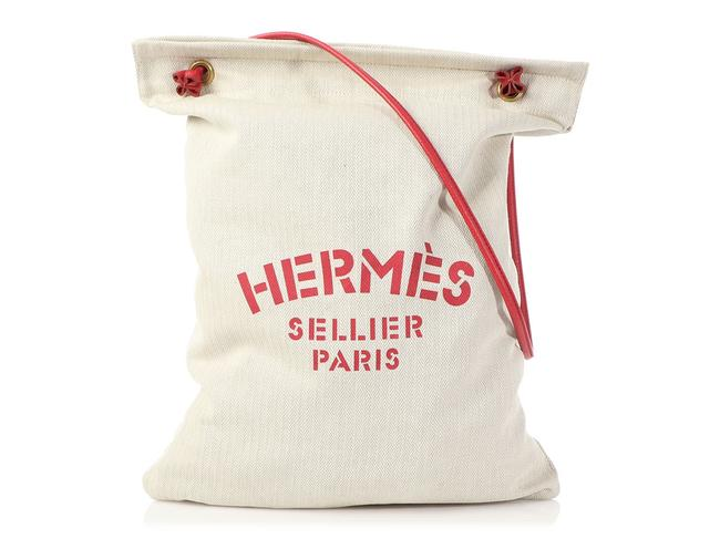 Item - Aline Sellier Red Epsom And White Canvas Shoulder Bag
