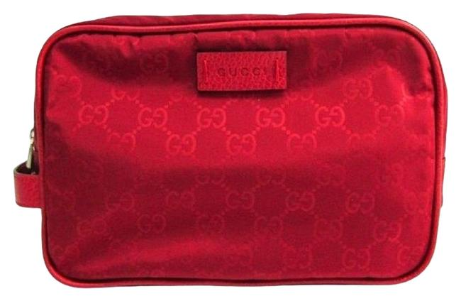 Item - Red Toiletry Nylon ssima Leather 510338 Cosmetic Bag