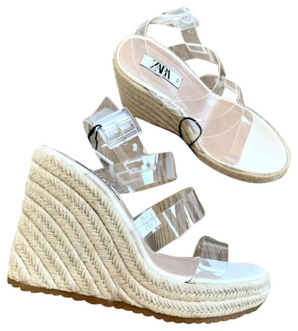 Item - Beige Vinyl Espadrille Jute Transparent Strap Sandal Wedges Size US 9 Regular (M, B)