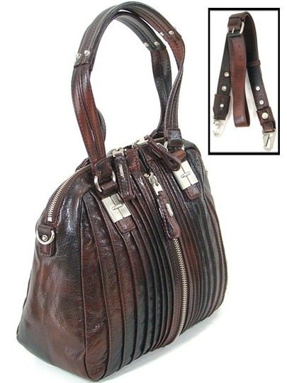 Tulah Ray Split Extended Zip Extended Strap Fall Collection Satchel in Berry