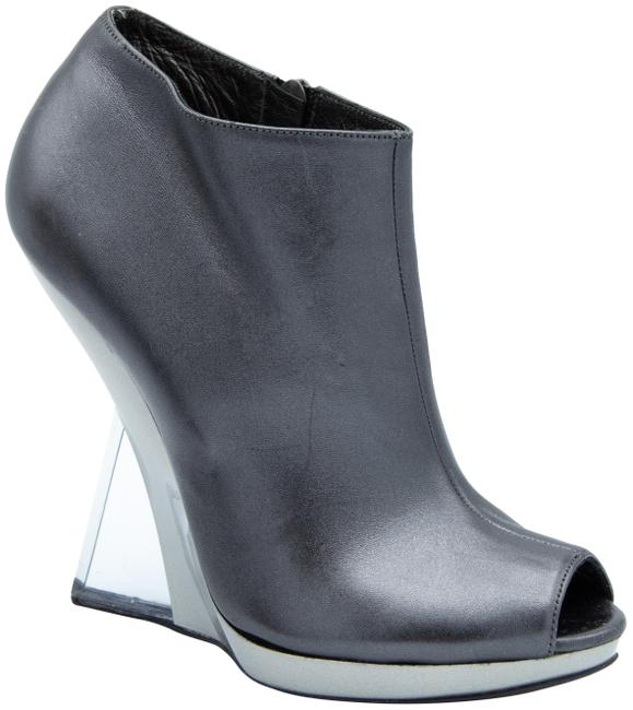Item - Silver Lucite Booties Wedges Size US 8 Regular (M, B)