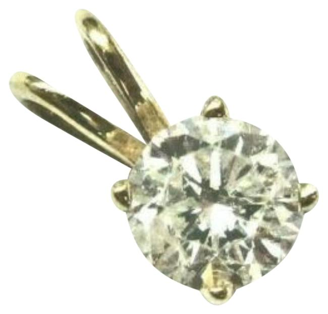 Item - Yellow Gold Natural Round Cut Diamond Solitaire Pendant .43ct