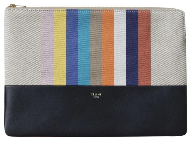 Item - Solo Cotton Canvas Lambskin Striped Multicolor Cowhide Leather Clutch