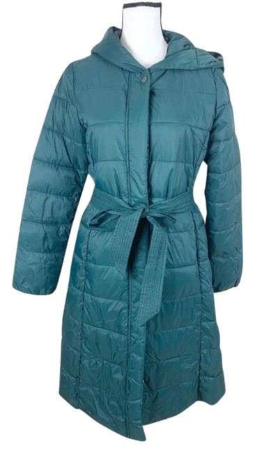 Item - Green Signature Hooded Knee Length Puffer Pine Small Coat Size 4 (S)