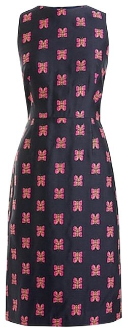 Item - Butterflies Navy Violet Tall Sheath In Jacquard Mid-length Work/Office Dress Size 12 (L)