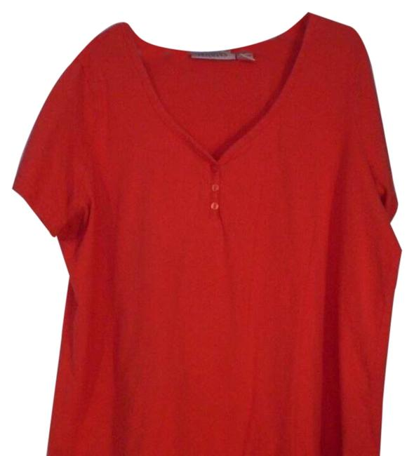 Item - Red Knit Sweetheart Neckline Tee Shirt Size 24 (Plus 2x)