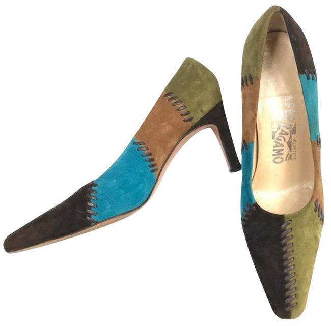 Item - Brown/Tan/Green/Blue Suede Patchwork with Leather Whipstitching Kitten Heels Pumps Size US 7 Regular (M, B)