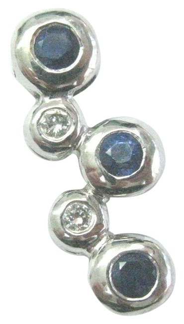 Item - White Gold Natural Sapphire & Diamond Solid Bubble Pendant 18kt .36ct