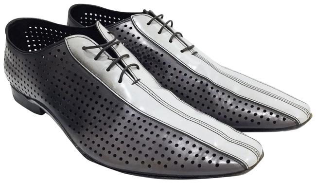 Item - Gray Perforated Metallic Leather Pointy Dress Formal Shoes Size US 10.5 Narrow (Aa, N)
