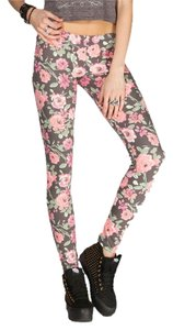 Neff Floral Black Watercolor Painted Print Cotton Stretch Cute Pretty Waistband Charcoal, Pink, Fuschia, Green Leggings