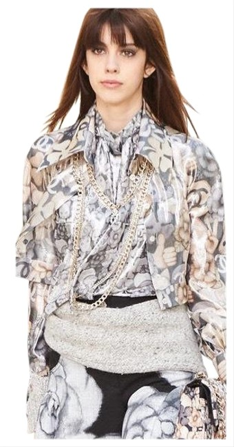 Item - Beige and Silver Metallic Colors Cc Logo Emoji Scarf Bow Blouse Size 4 (S)