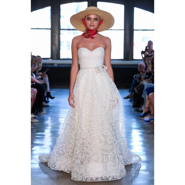 Item - Ivory Caerwyn Silk Lace & Dotted Tulle Strapless Gown Traditional Wedding Dress Size 10 (M)