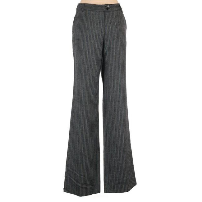 Item - Classic Gray Pinstripe Wool High Rise Wide Leg Pants Size 14 (L, 34)