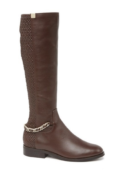 Item - Dark Brown Tumbled Idina Stretch Leather Zip Chain Tall Boots/Booties Size US 8 Regular (M, B)
