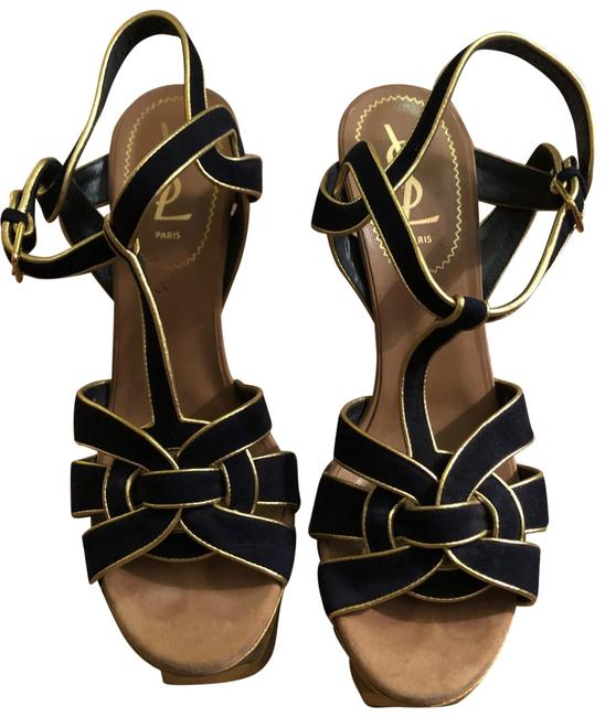 Item - Navy Gold Silver (Blue and White) Heel Ysl Tributes Sandals Size EU 39 (Approx. US 9) Regular (M, B)