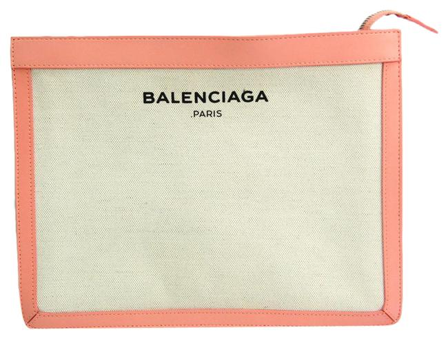 Item - Navy Pouch 410119 Women's Light Pink / Off-white Canvas / Leather Clutch