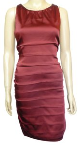Taylor Pleated Satin Sheath Dress