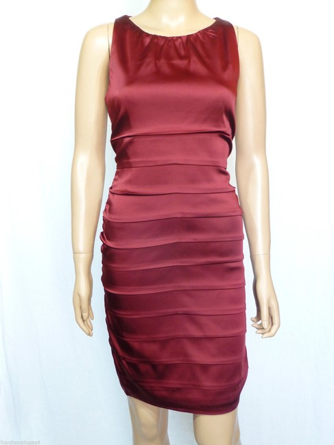 Taylor Pleated Satin Sheath Exposed Zipper Wedding Holiday Dress