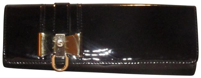 Item - W/ Accent Black Patent Leather/Gold Bow Clutch