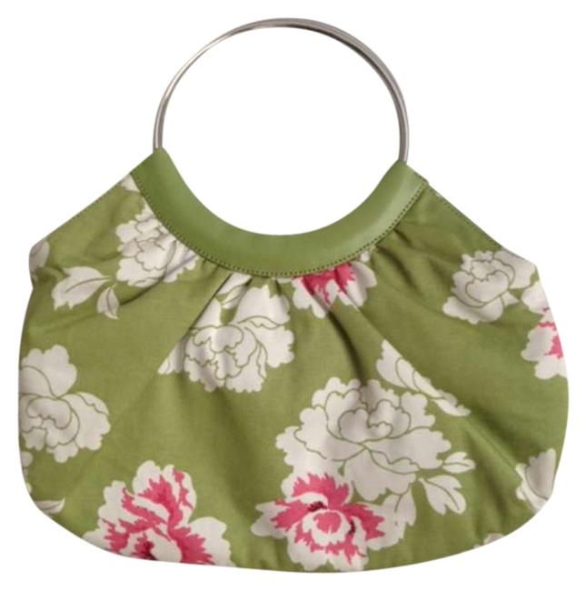 Item - Green White and Pink Floral Cotton Leather Hobo Bag