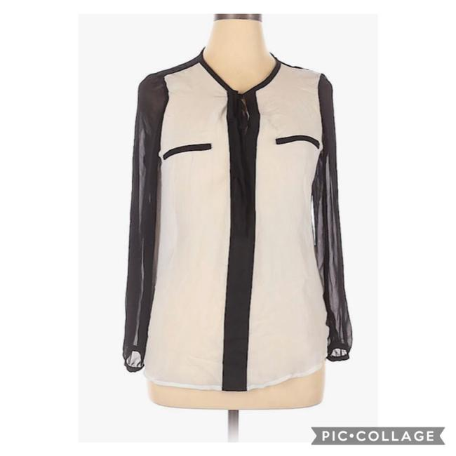 Item - White and Black Sheer Long Sleeve Neck Tie Button Blouse Size 14 (L)