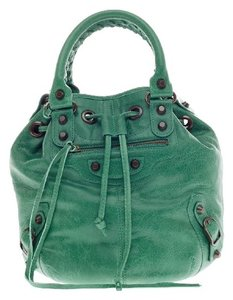 Balenciaga Leather Satchel in Teal
