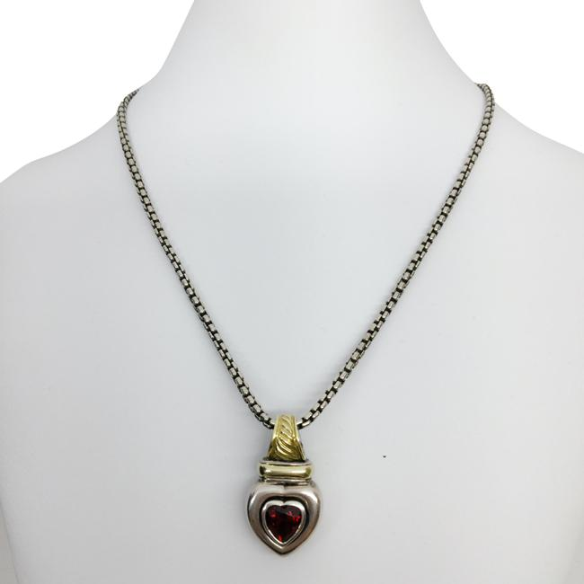 Item - Burgundy Garnet Stone Heart Charm Sterling Silver Necklace