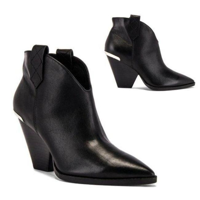 Item - Black Silver Juana Leather Ankle In Boots/Booties Size US 7 Regular (M, B)