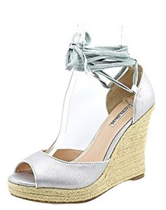 Charles by Charles David Kiri Sandals Heels Pumps Peep Toe Ankle Strap Ankle Tie Ankle Wrap Hemp Women Misses Leather Metallic Casual Chic Silver Wedges