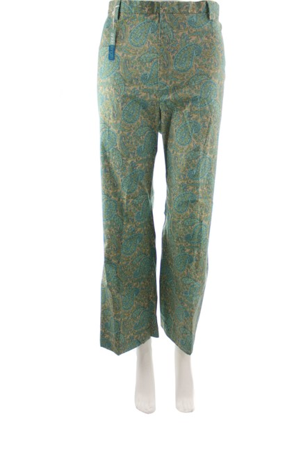 Item - Green Paisley Print Stretch Cotton Blend Ankle New Pants Size 14 (L, 34)