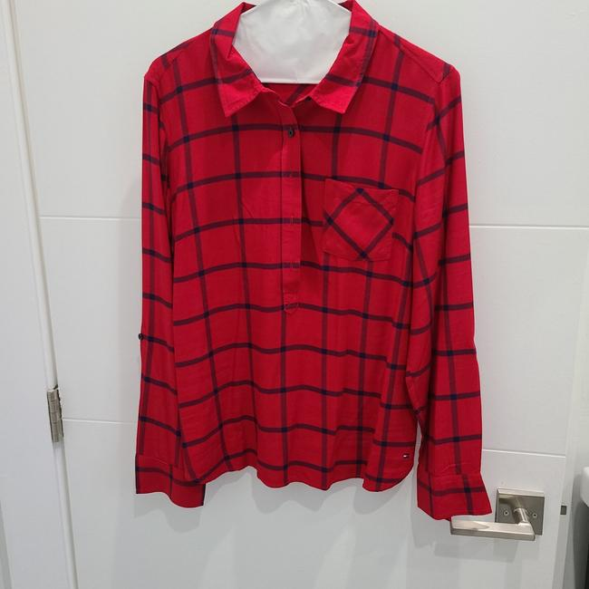 Item - Red and Navy Lines Button-down Top Size 12 (L)