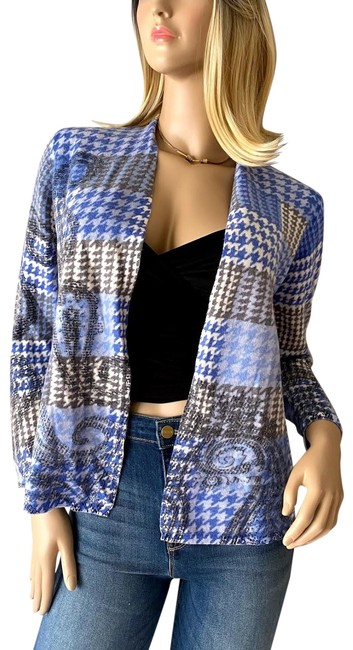 Item - Blue Gray and White Merino Wool Houndstooth Paisley Open Front Sweater Cardigan Size Petite 8 (M)