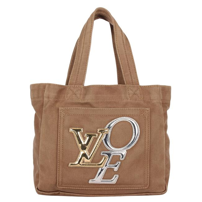 Item - That's Love Metallic Pm 8921 Beige/Gold/Silver Canvas Tote