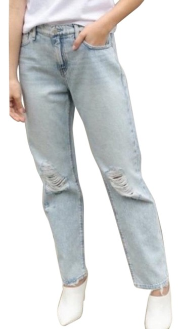Item - White Blue Light Wash Jessi Relaxed Cropped New Boyfriend Cut Jeans Size 28 (4, S)