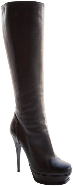 Item - Black Leather Knee Boots/Booties Size EU 38 (Approx. US 8) Regular (M, B)