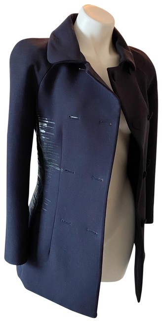 Item - Navy Blue Abstract Double Breast Wool Coat / Blazer Size 2 (XS)