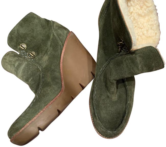 Item - Olive Green Suede Wedge Boots/Booties Size US 7.5 Regular (M, B)