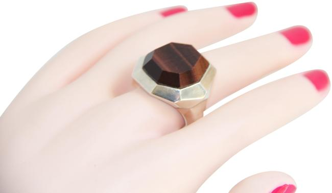 Item - Red Sterling Silver Octagon Tiger Eye Ring